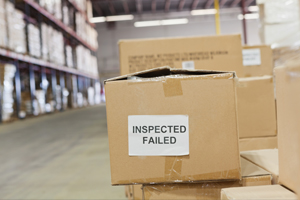 boxes that failed inspection in warehouse