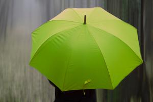 top view of person holding a green umbrella