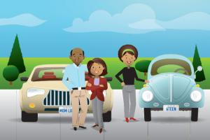Illustration of a family in-front of their cars