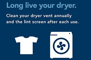 Graphic showing dryer fire prevention tip