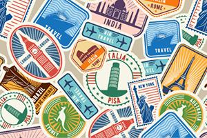 collection of travel related stickers